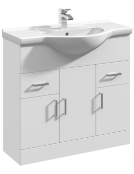 Gloss White 850mm 3 Door And 2 Drawer Basin Vanity Unit