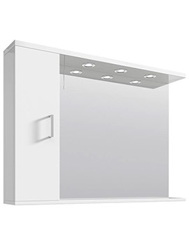 Mayford High Gloss White Mirror Cabinet With Lights 1050mm Wide