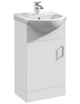 450 x 300mm Single Door Vanity Unit And Basin Gloss White