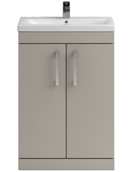 Lauren Shipton 600mm Stone Grey 2 Door Floor Standing Cabinet And Basin