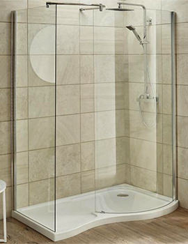 Pacific Universal Curved 1400 x 906mm Walk-In Shower Enclosure