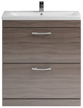 Lauren Shipton 800mm Driftwood 2 Drawer Floor Standing Cabinet And Basin