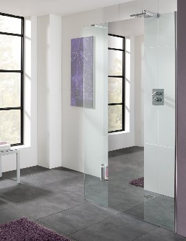 Cannes Mirror Walk-In Shower Panel 800mm