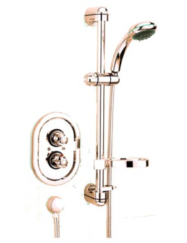 Roma Thermostatic Shower Valve With Sliding Rail Kit Antique Gold