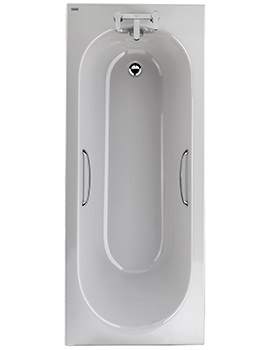 Opal 1700 x 700mm Plain 2 Tap Hole 130 Litres Acrylic Bath With Grips