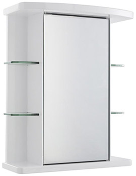 Virtue 530mm Single Door Mirrored Cabinet With Shelves