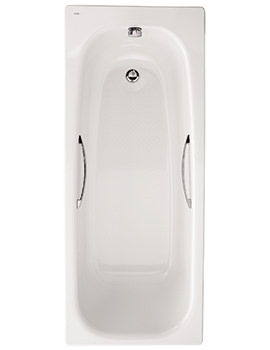 Twyford Neptune 1700 x 700mm Slip Resistant No Tap Hole Steel Bath With Grips