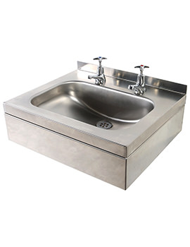 Stainless Steel 508 x 420mm 2 Tap Holes Wall Hung Basin With Apron