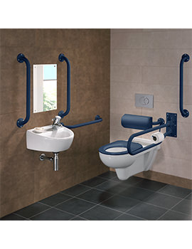 Doc.M Rimless Wall Hung WC Pack With Blue Grab Rails And Seat