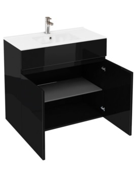 Britton Aqua Cabinets D450 Black 900mm Floor Standing Double Door Vanity Unit