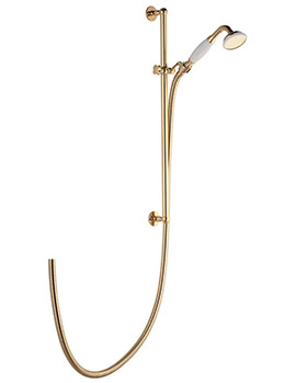 Aquatique Gold Exposed Shower Slide Rail With Adjustable Head