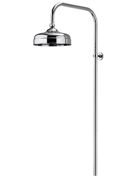 Aquatique Chrome Exposed Rigid Riser With 8Inch Drencher Head