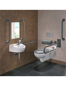 Doc.M Rimless Wall Hung WC Pack With Grey Grab Rails And Seat