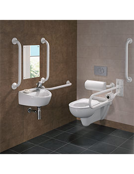 Doc.M Rimless Wall Hung WC Pack With White Grab Rails And Seat