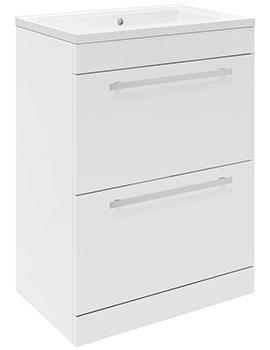 Lauren Design 600mm Gloss White 2 Drawer Floor Standing Basin Cabinet