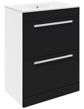 Lauren Design 600mm Gloss Black 2 Drawer Floor Standing Basin Cabinet