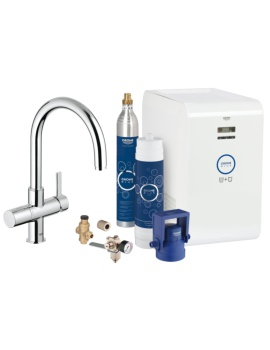 Blue Professional Kitchen Sink Mixer Tap With Starter Kit