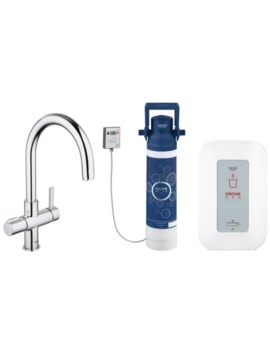 Red Duo Chrome Faucet And 4 Liters Single Boiler - 30058000