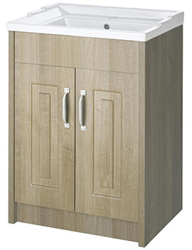 Lauren York 600mm Gladstone Oak 2 Door Floor Standing Basin Cabinet