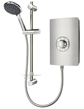 Triton Authentic Aspirante Brushed Steel Electric Shower 9.5 KW- ASP09BRSTL - Image