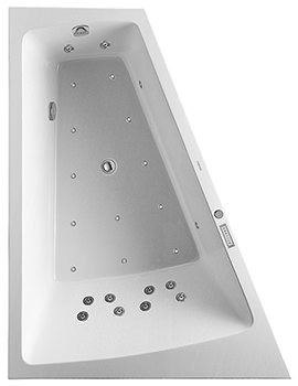 Paiova 1800 x 1400mm Left Hand Backrest Slope Bath With Panel And Combi System E