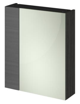 Hudson Reed Full Depth 600mm Black Double Door 75-25 Mirror Cabinet