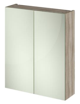 Hudson Reed Compact 600mm Driftwood Double Door 50-50 Mirror Cabinet