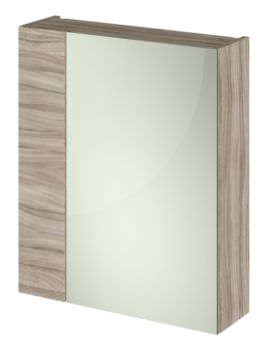 Hudson Reed Full Depth 600mm Driftwood Double Door 75-25 Mirror Cabinet