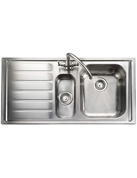 Rangemaster Manhattan 1.5 Bowl Stainless Steel Kitchen Sink - LH Drainer