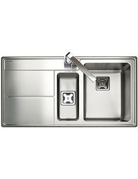Rangemaster Arlington 1.5 Bowl Stainless Steel Kitchen Sink - LH Drainer