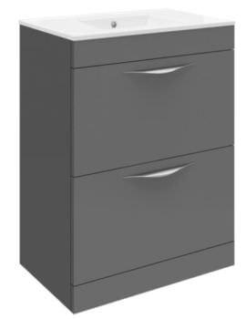 Memoir 600mm Gloss Grey Floor Standing 2 Drawer Unit