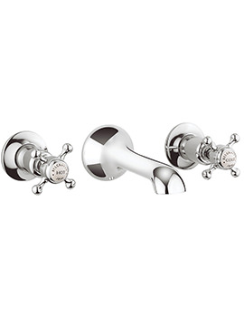 Belgravia Crosshead Chrome 3 Hole Wall Mounted Basin Mixer Tap