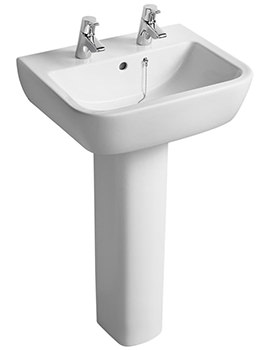Ideal Standard Tempo 550mm 2 Tap Hole Basin And Full Pedestal