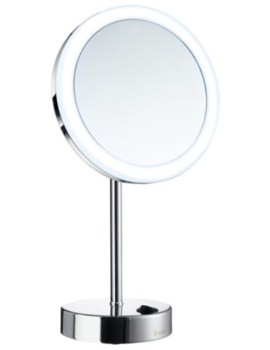 Smedbo Outline Free Standing Shaving And Make Up Mirror With Light Chrome