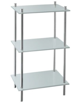 Outline Polished Chrome Free Standing Shelf With 3 Shelves