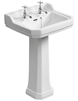 Waverly 560mm 2 Tapholes Basin And Pedestal