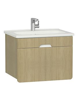 Vitra D-Light 700 x 500mm Natural Oak Vanity Unit And Basin