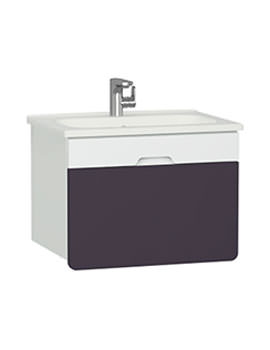 Vitra D-Light 700 x 500mm Matte White-Purple Vanity Unit And Basin