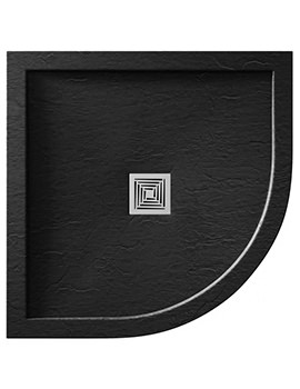 Aquadart Aqualavo 800 x 800mm Quadrant Slate Effect Black Shower Tray