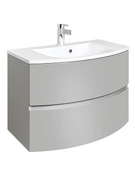 Bauhaus Svelte 800mm Storm Grey Wall Hung Vanity Unit And Basin