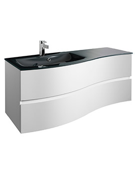 Svelte 1200mm White Gloss Wall Hung Unit And Charcoal Glass Basin