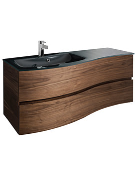 Svelte 1200mm American Walnut Unit And Charcoal Glass Basin
