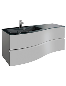 Svelte 1200mm Storm Grey Wall Hung Unit And Charcoal Glass Basin