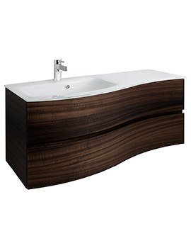 Svelte 1200mm Eucalyptus Wall Hung Unit And Ice White Glass Basin