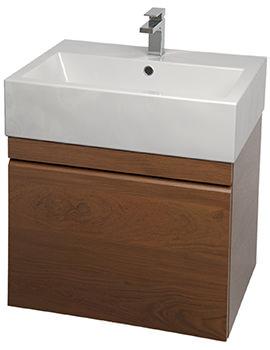 Saneux Matteo 500mm Golden Oak Handleless Drawer Unit With Washbasin