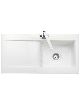 Rangemaster Nevada 1010 x 510mm Fire-Clay Ceramic White 1.0B Inset Sink