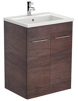 Saneux Austen 600mm Pacific Walnut Floor Standing Unit With X ACT Washbasin