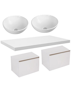 Saneux Podium 1200mm Gloss White Unit With Worktop And Basin