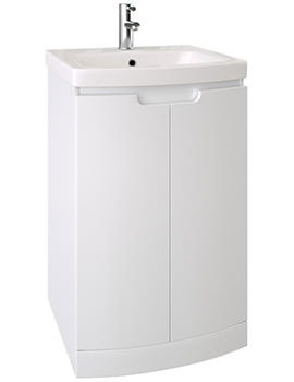 Saneux I Line 500mm Wide Gloss White 2 Door Cabinet With Washbasin