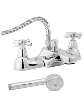 Danube Deck-Mounted Bath Shower Mixer Tap With Cross Heads